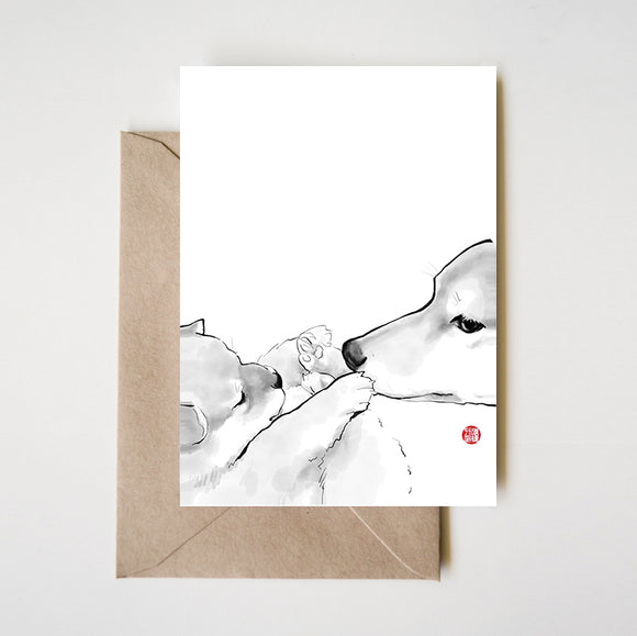 Mother and Puppy Shiba Inu Greeting Card
