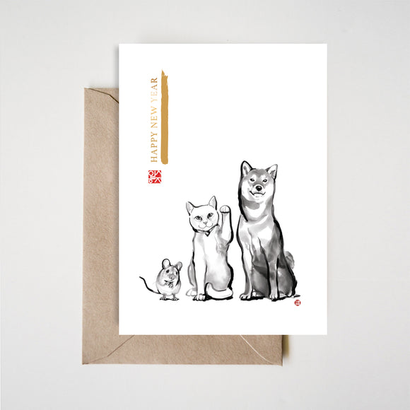 Happy New Year Shiba Inu,Cat,Mouse Card