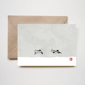 Snowy day Shiba inu Cards Set of 8