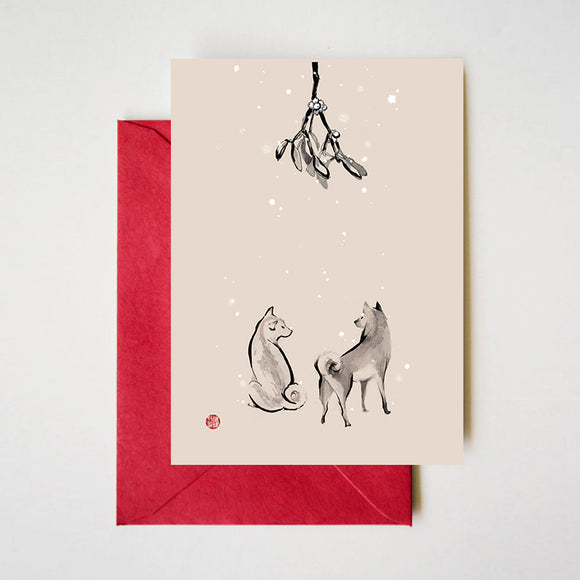 Shiba Inu underneath the Mistletoe Cards Set of 8