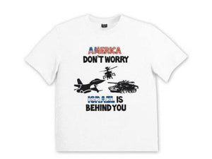 Remera America Don't Worry Israel is Behind You para hombres - Compraenisrael