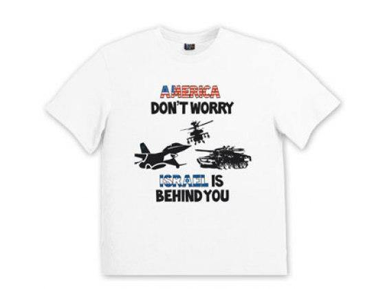 Remera America Don't Worry Israel is Behind You para hombres
