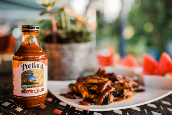 Recipe from Portlandia Foods Showing BBQ Sauce and Grilled Chicken