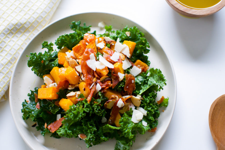 FALL KALE SALAD WITH VEGAN APPLE CIDER HONEY MUSTARD DRESSING
