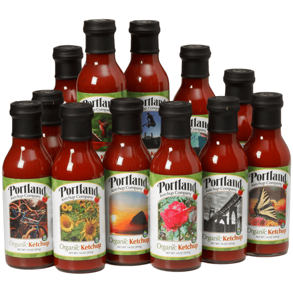 Six pack of Portland Organic Ketchup, gluten free, dairy free, non GMO condiment