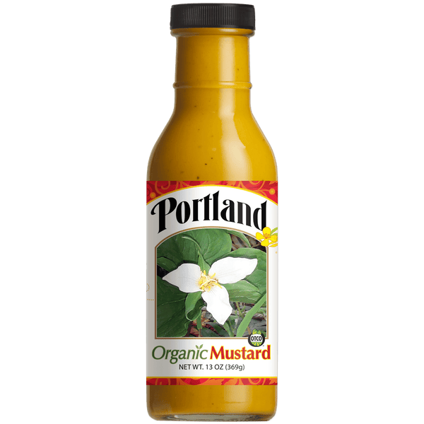 Single bottle of Portland Organic Yellow Mustard, dairy free, gluten free, vegan, non GMO organic condiment