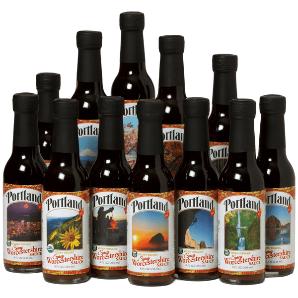 12-pack of Organic Spicy Portland Worchestershire sauce, vegan, gluten free, dairy free, organic condiment