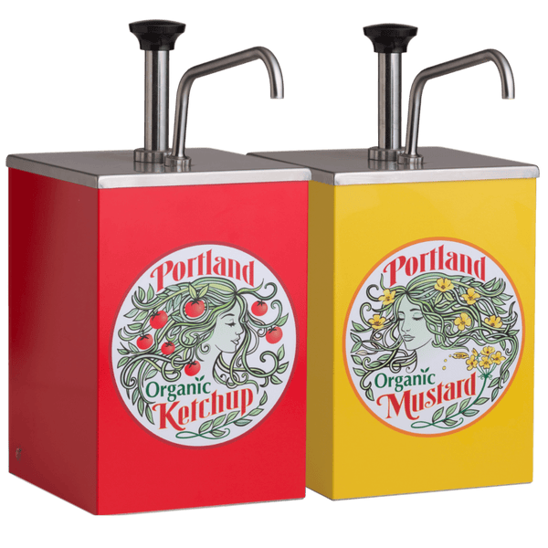 Portland Organic Yellow Mustard and Ketchup Stainless Steel Pump 1 gallon dispenser with Portland Organic Label on the front, restaurant supply, non GMO, Dairy Free, Gluten Free, condiments