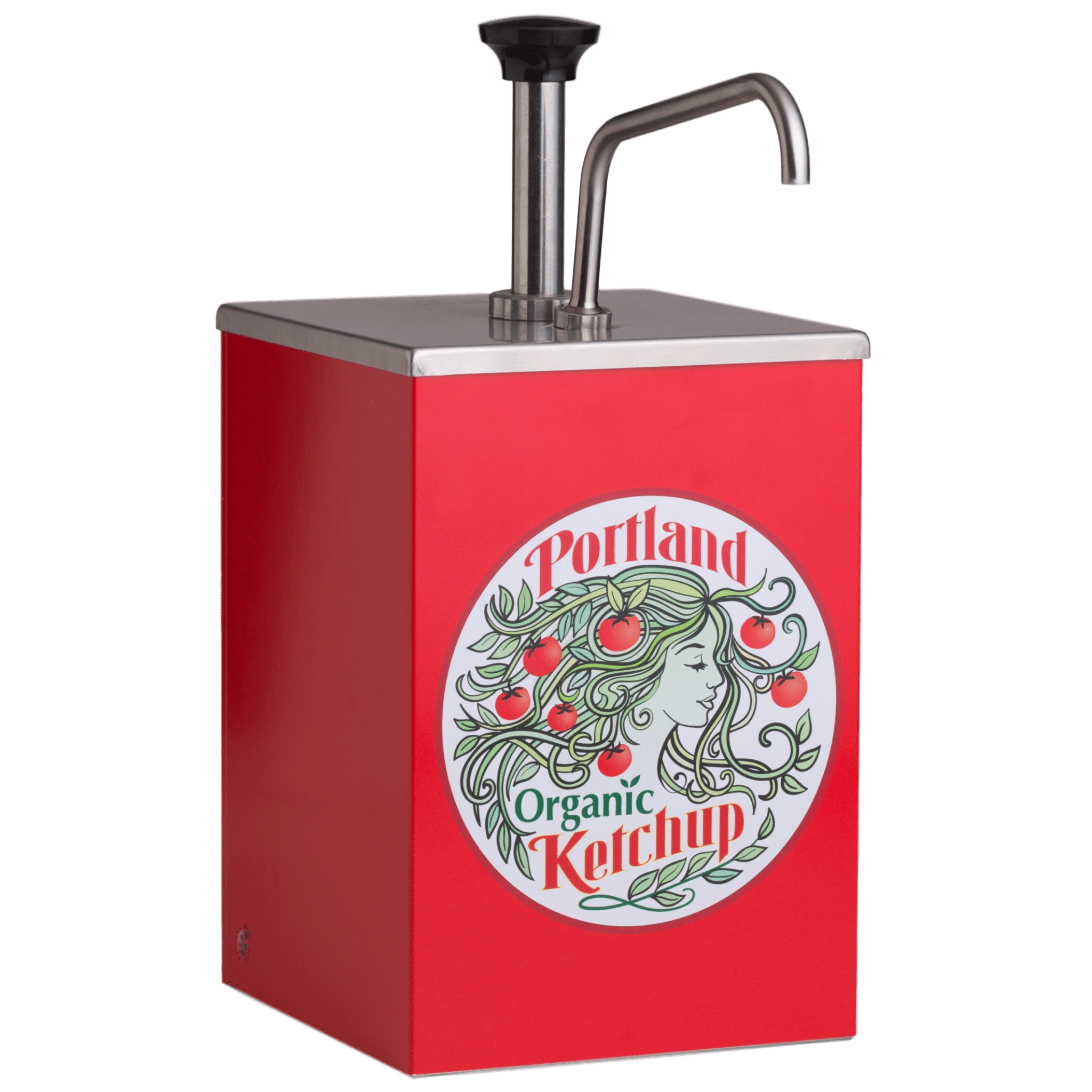 Portland Organic Ketchup Stainless Steel Pump 1 gallon dispenser with Portland Organic Ketchup Label on the front, restaurant supply, non GMO, Dairy Free, Gluten Free, condiments