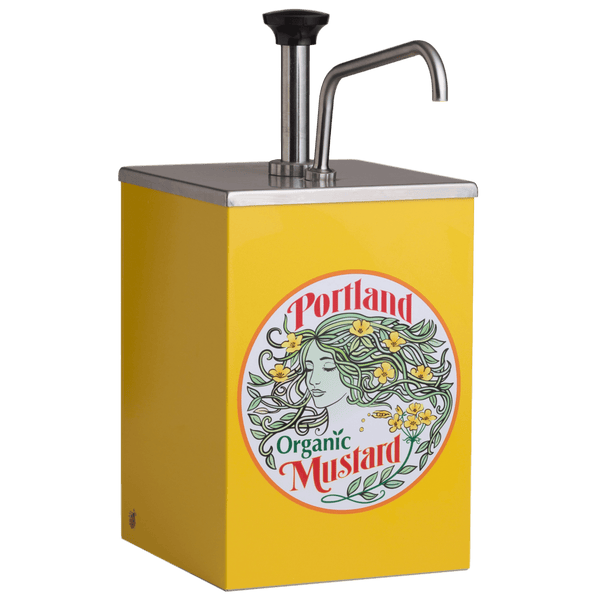Portland Organic Yellow Mustard Stainless Steel Pump 1 gallon dispenser with Portland Organic Yellow Mustard Label on the front, restaurant supply, non GMO, Dairy Free, Gluten Free, condiments