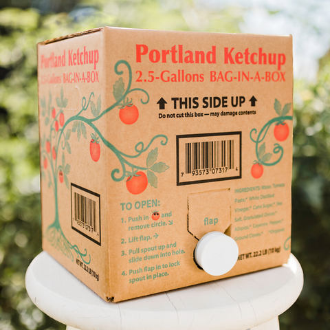 Box of Portland Organic Ketchup 2.5 Gallon Bag in a Box with spigot, gluten free, dairy free condiment