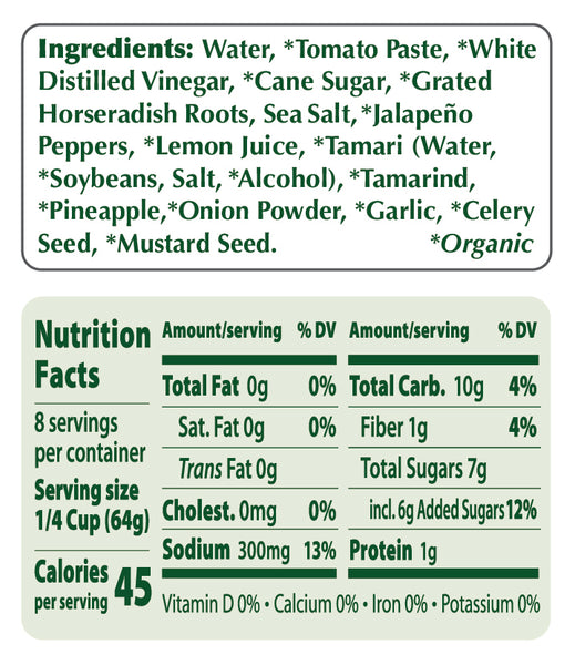 Portland Organic Cocktail Sauce nutritional information: non-GMO, Vegan, dairy free