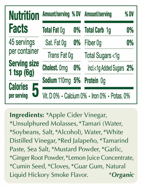 Spicy Portland Organic Worcestershire Sauce nutritional information: non-GMO, Vegan, dairy free