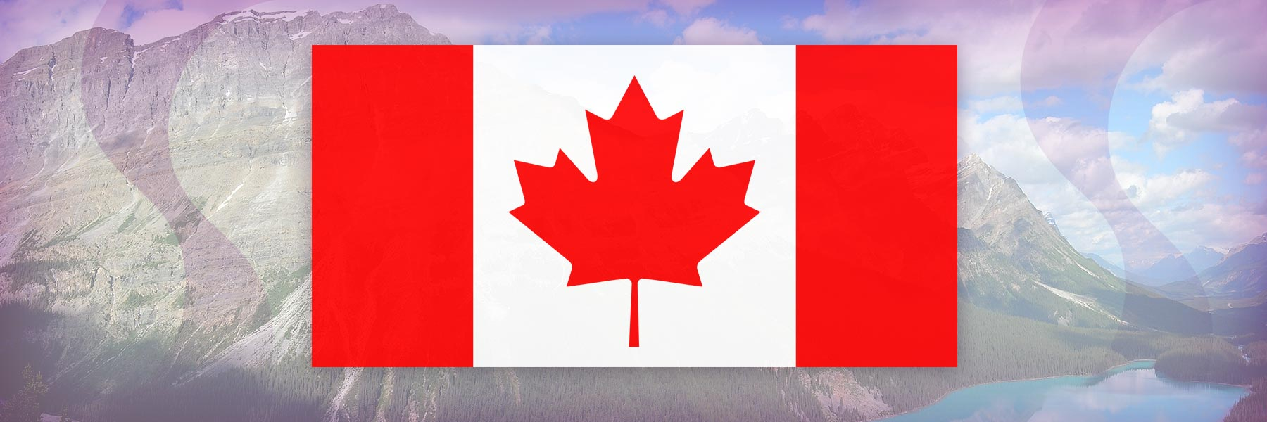 Canada flag and scenery