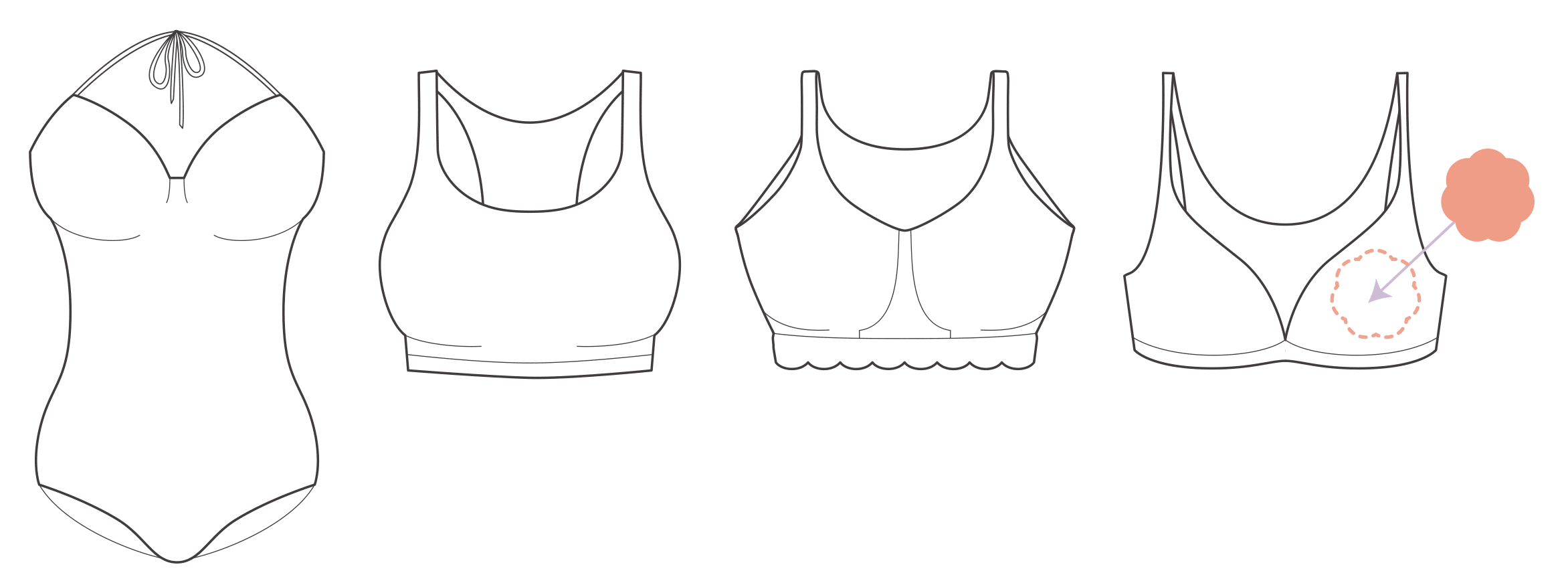 Use Nippeez with soft cup bras, swimsuits, sports bras, bralettes, and more.