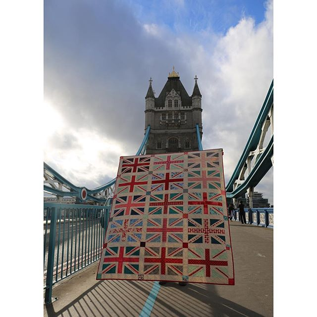 Union Jack quilt on the Tower Bridge in London by Maker Valley / Holly Lesue