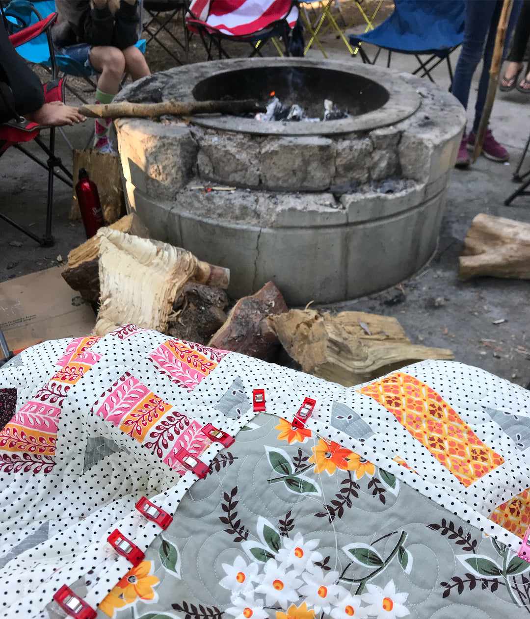 Binding by a campfire! Division quilt by Maker Valley. Quilt pattern by A Bright Corner (aka Andy Knowlton)