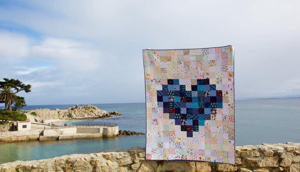 Navy Pixelated Heart Quilt by Maker Valley