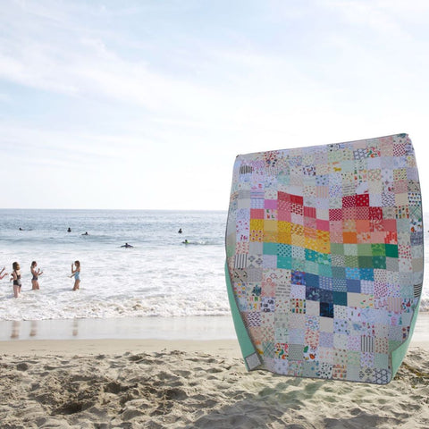 Rainbow Pixelated Heart Quilt by Maker Valley