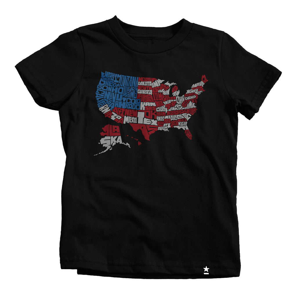 USA Flag Map T-shirt - Kids - Stately Type