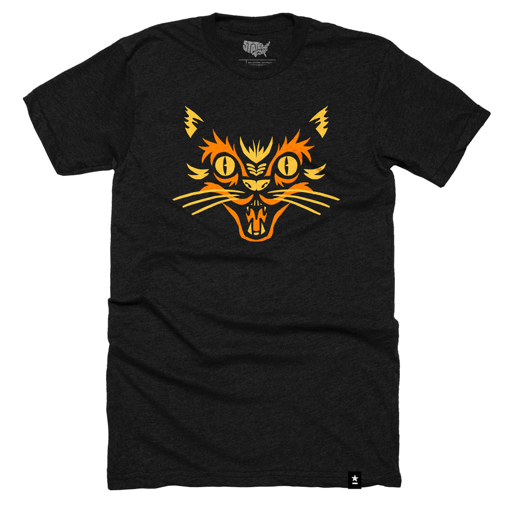 Black Cat Halloween T-shirt (Crewneck) by Stately Type