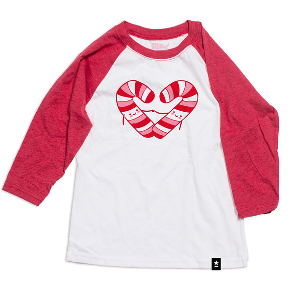 Candy Cane Heart Raglan T-shirt - Kids - Stately Type