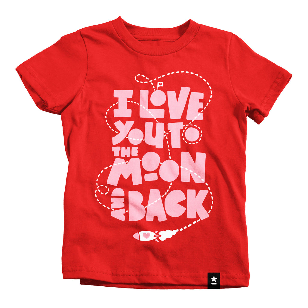 i love you to the moon and back t shirt kids stately type