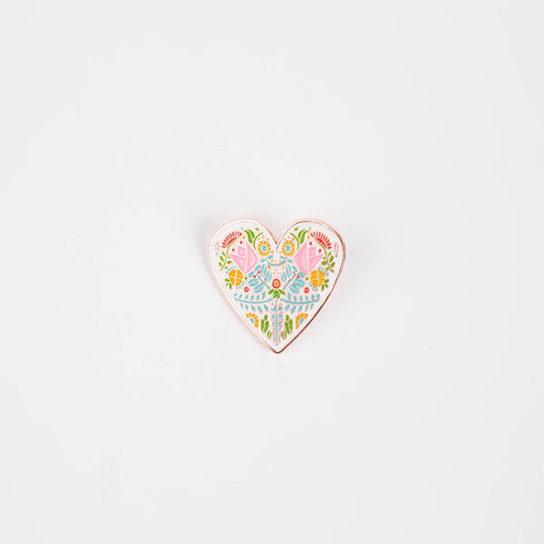 Norwegian Folk Art Heart Enamel Pin - Stately Type