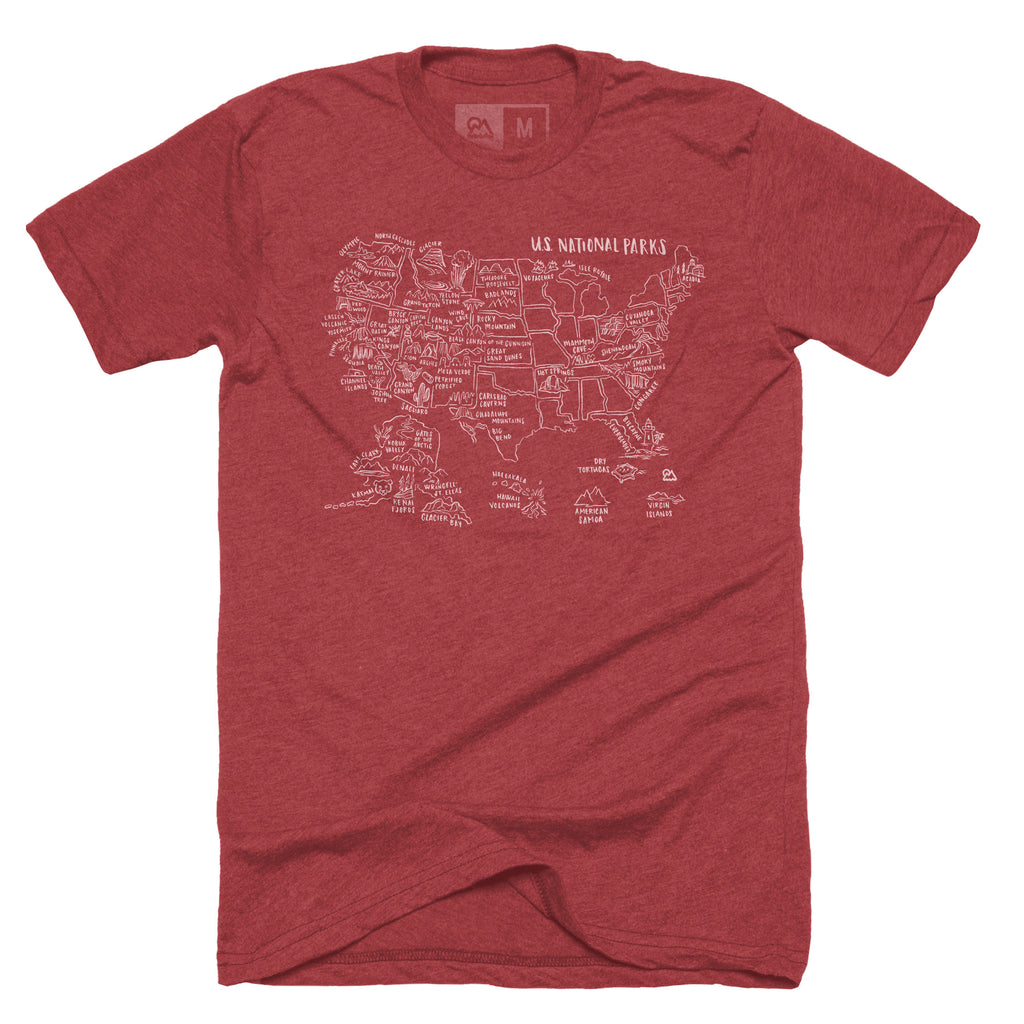 National Parks Map T-shirt - The Outdoor Majestic