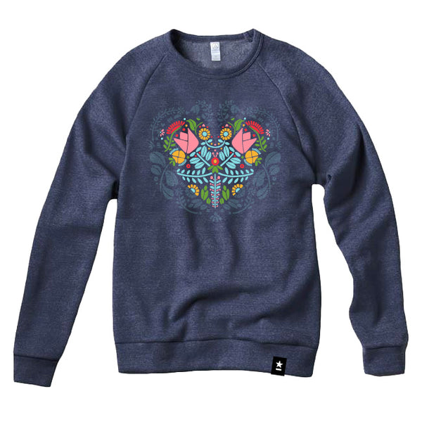 Norwegian Folk Art Heart Sweatshirt - Stately Type