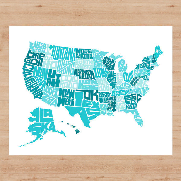 "US Typographic Map - 14"" x 11"" Giclée Print"
