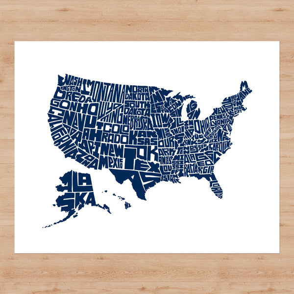 "US Typographic Map - 20"" x 16"" Letterpress Print"