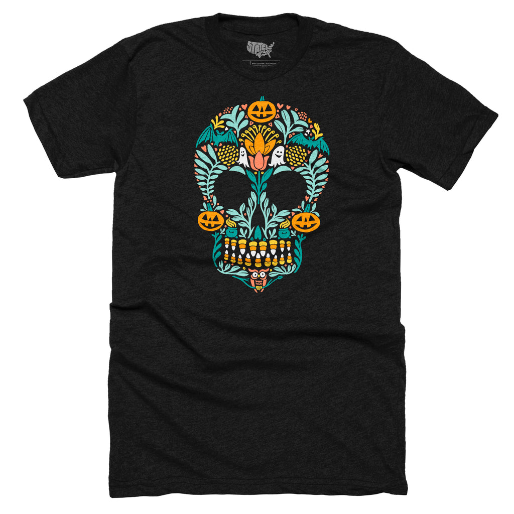 Sugar Skull Halloween T-shirt - Stately Type