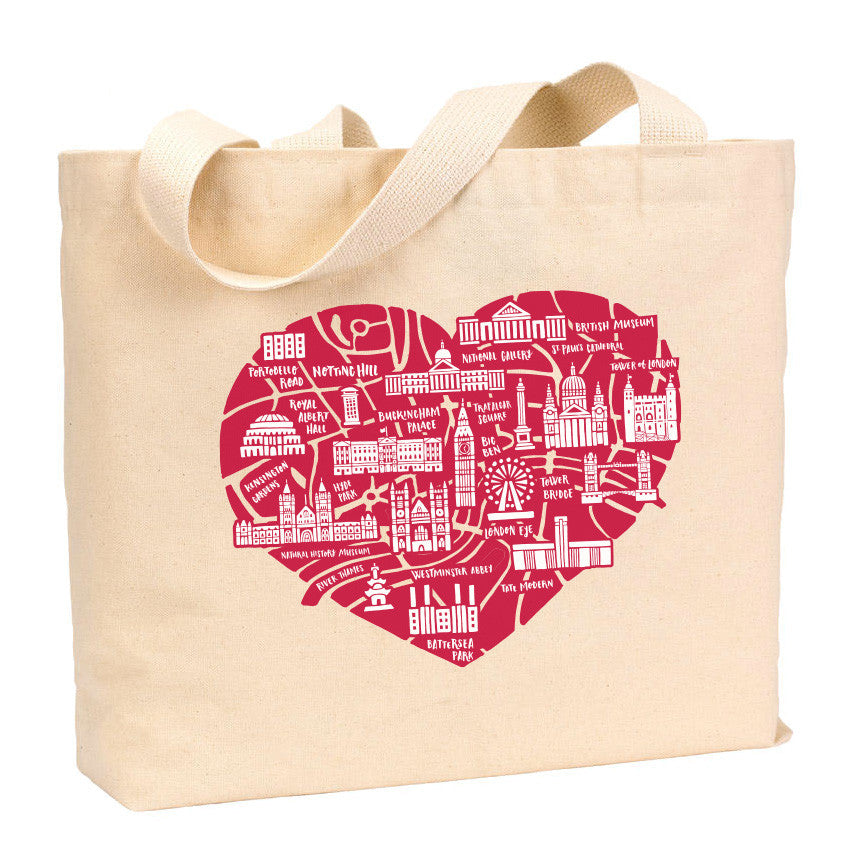 London Heart Map Tote - Stately Type
