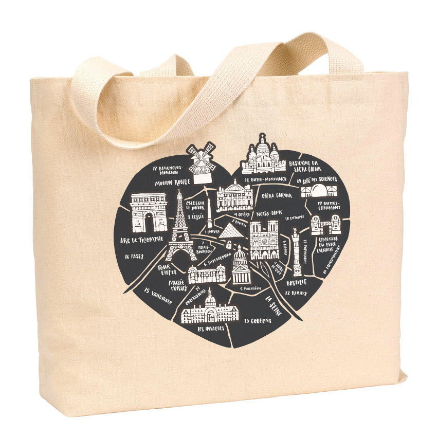 Paris Heart Map Tote - Stately Type
