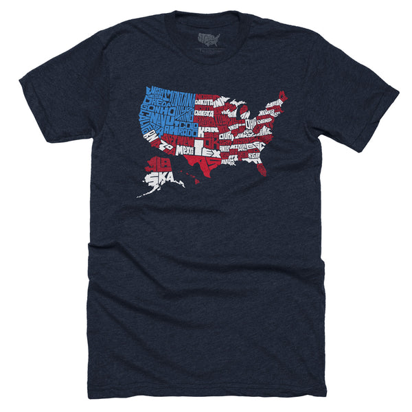 USA Flag Map T-shirt