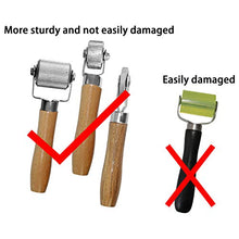Load image into Gallery viewer, Car Sound Deadening Hand Roller Sound Noise Insulation Tool 3PCS For Auto Noise Roller Car Sound Deadener Application Installation Tool Rolling Wheel Interior Accessories Working Area with Wood Handle