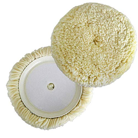 Polishing Pad Buffing Pads Kit 2PCS 6inch 100% Natural Wool Hook & Loop Grip Buffing Pad for Compound Cutting & Polishing for Car Polishing Motorcycle Washing Machine Refrigerator Furniture etc