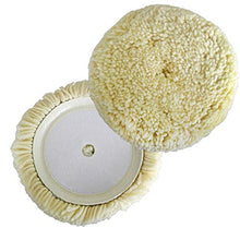 Load image into Gallery viewer, Polishing Pad Buffing Pads Kit 2PCS 6inch 100% Natural Wool Hook & Loop Grip Buffing Pad for Compound Cutting & Polishing for Car Polishing Motorcycle Washing Machine Refrigerator Furniture etc
