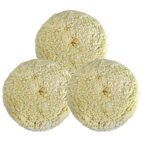 Polishing Pad Buffing Pads Kit 3PCS 6inch 100% Natural Wool Hook & Loop Grip Buffing Pad for Compound Cutting & Polishing for Car Polishing Motorcycle Washing Machine Refrigerator Furniture etc