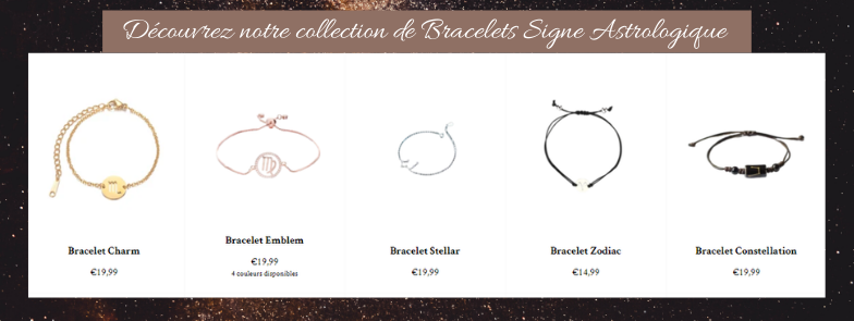 collection bracelets signe astrologique