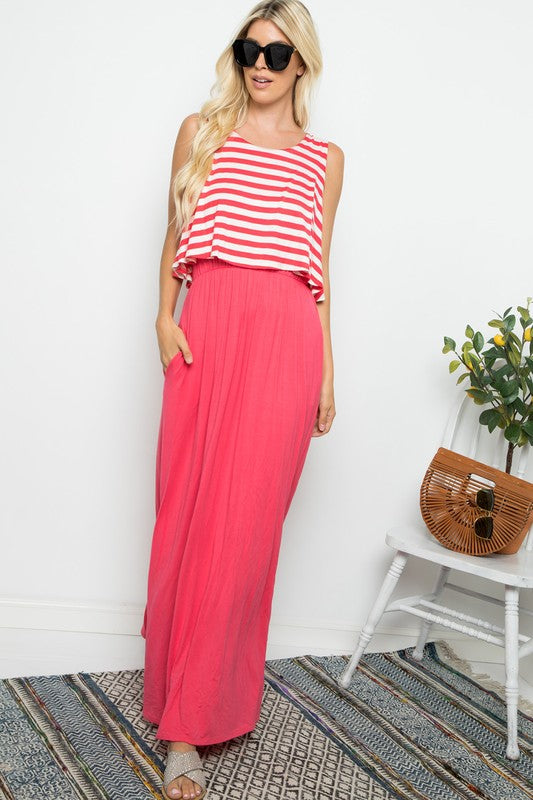 Sleeveless Striped Maxi (Coral)