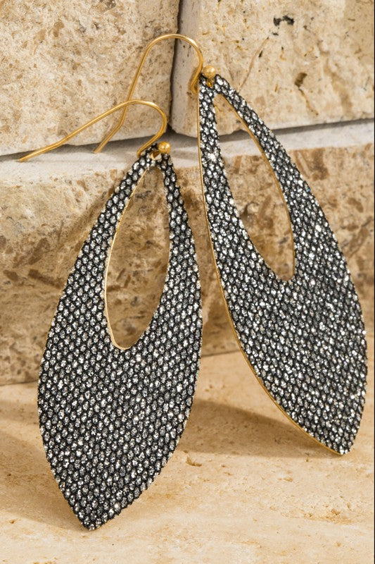 Oval Glitter Earrings (Hematite)