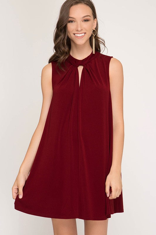 Neck Band Swing Dress (Wine)