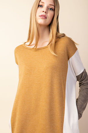 French Terry Color Block Dress (Mustard)