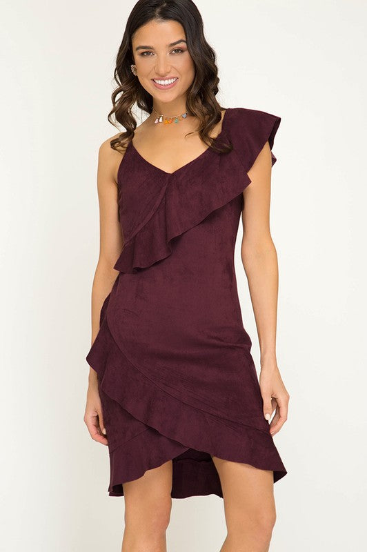 Ruffle Suede Dress (Wine)