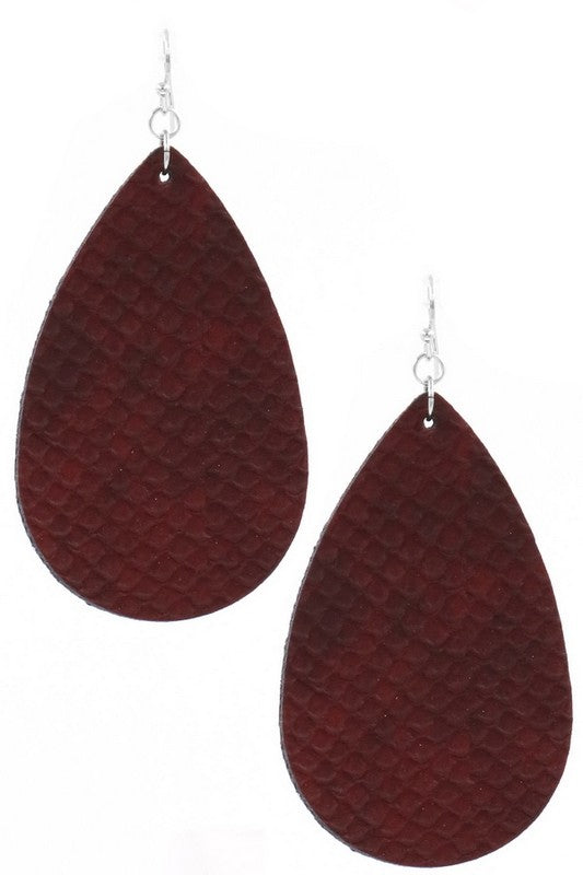 Leather Tear Drop Earrings (Burgundy)