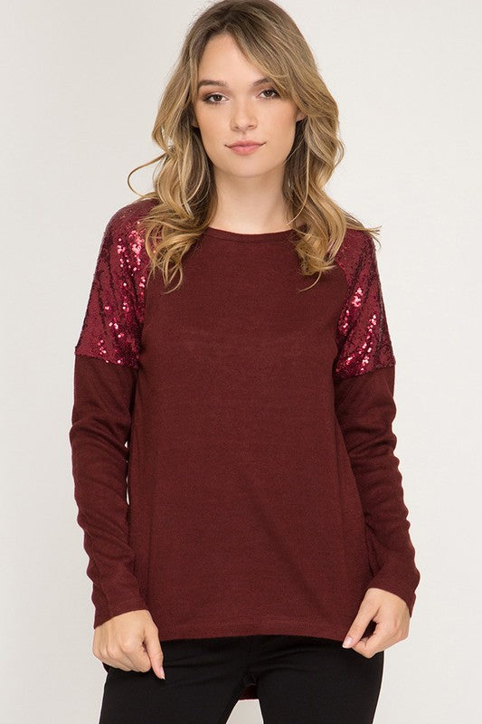 Sequin Shoulder Top (Wine)