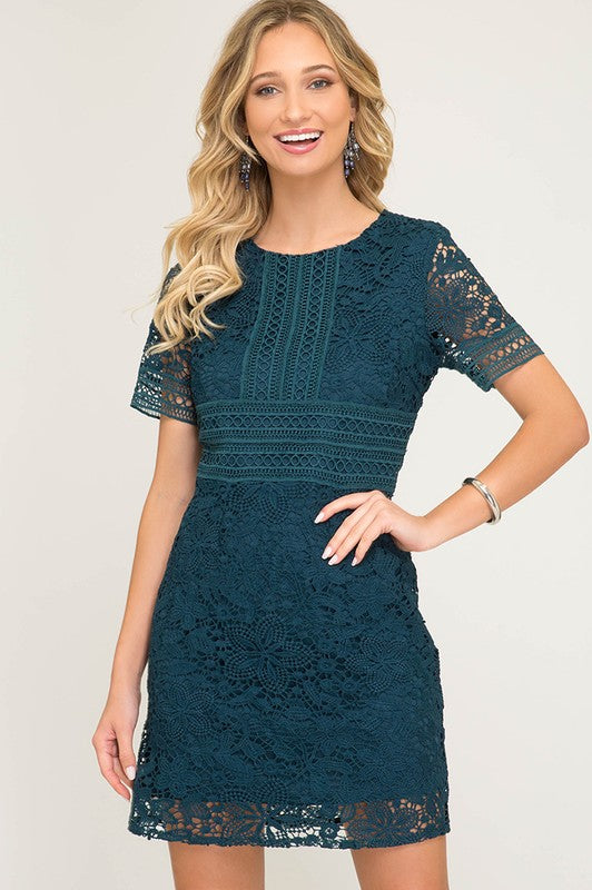 Crochet Lace Dress (Teal)