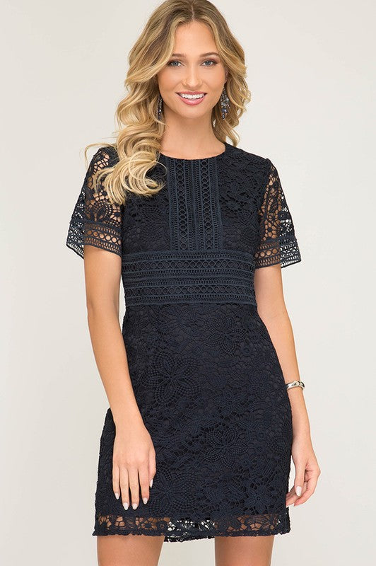 Crochet Lace Dress (Navy)